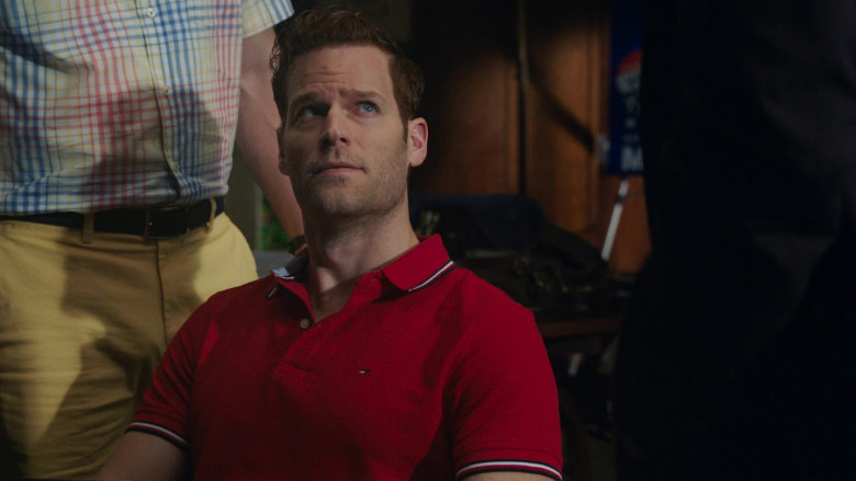 Tommy Hilfiger Men's Red Polo Shirt Outfit in P-Valley S01E07