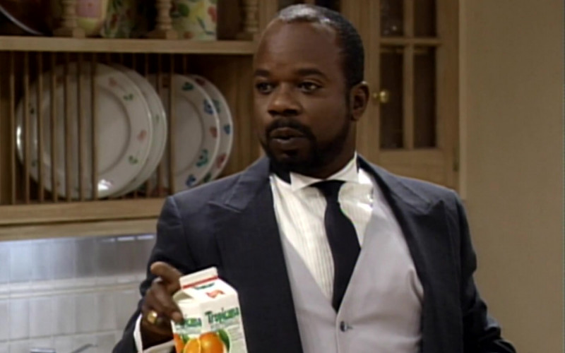 Tropicana Orange Juice Held by Joseph Marcell as Geoffrey in The Fresh Prince of Bel-Air S04E04