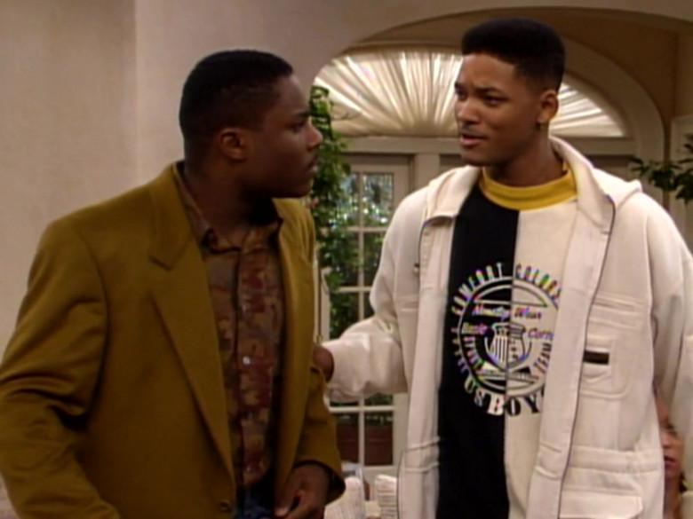 Will Smith Wears Comfort Colors Black & White Sweatshirt and White Jacket Outfit (1)