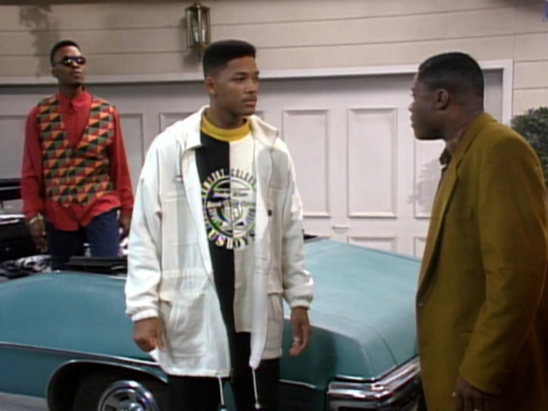 Will Smith Wears Comfort Colors Black & White Sweatshirt and White Jacket Outfit (2)