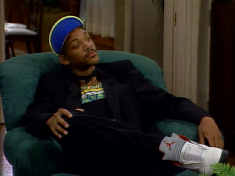 Will Smith Wears Jordan 5 White High Top Shoes and Black Outfit