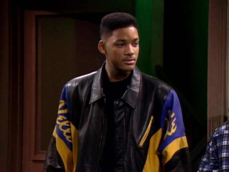 Will Smith Wears Pelle Pelle Black-Blue-Yellow Leather Jacket in The Fresh Prince of Bel-Air TV Series (2)