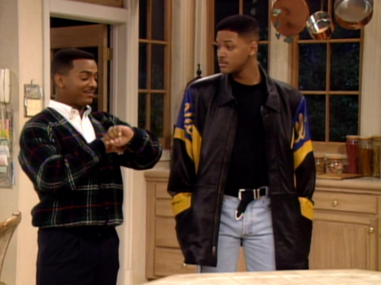 Will Smith Wears Pelle Pelle Black-Blue-Yellow Leather Jacket in The Fresh Prince of Bel-Air TV Series (6)
