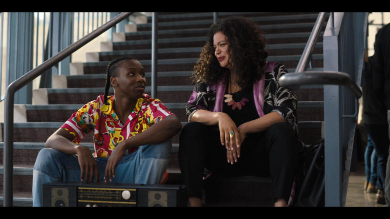 Work It Movie Outfits – Nathaniel Scarlette Wears Moschino Men's Print Shirt