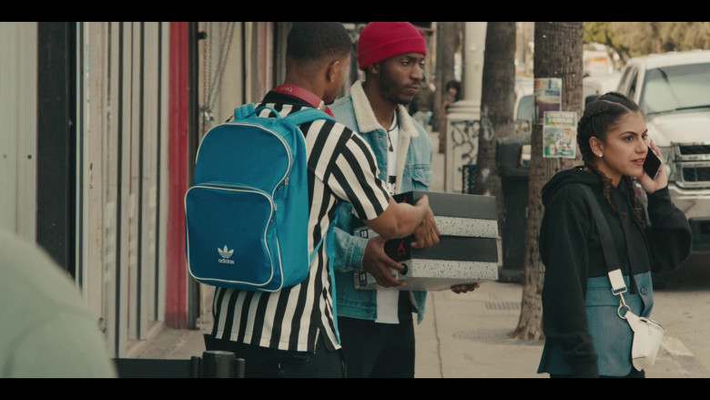 Adidas Originals Classic Vintage Blue Backpack of Andrew Bachelor as Bobby in Sneakerheads S01E01