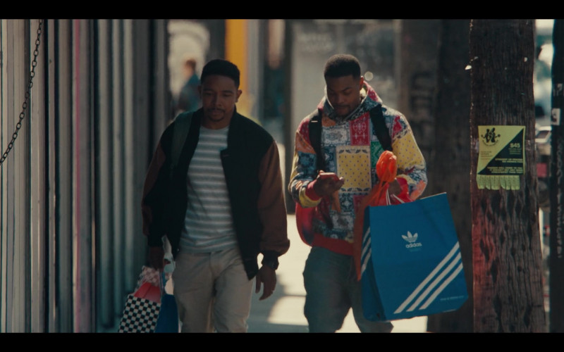 Adidas Paper Bag Held by Andrew Bachelor as Bobby in Sneakerheads Season 1 Episode 6