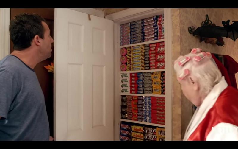 Almond Joy, KitKat, Junior Mints, Milky Way, M&M's, Snickers in Hubie Halloween (2020)