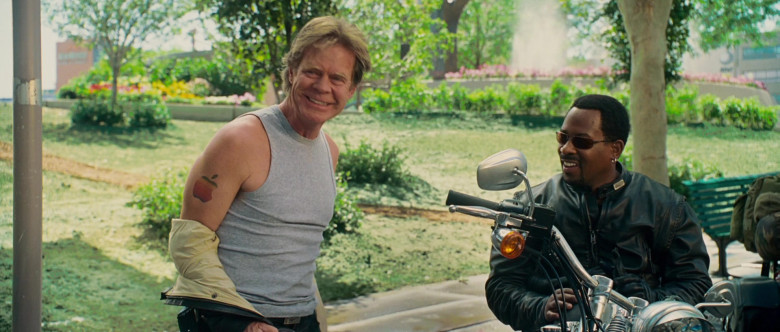 Apple Company Logo Tattoo of William H. Macy as Dudley Frank in Wild Hogs Movie