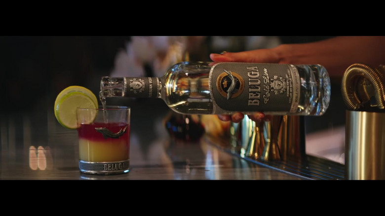 Beluga Gold Line Vodka Bottle and Branded Glass in Pa' Ti + Lonely Music Video by Jennifer Lopez & Maluma