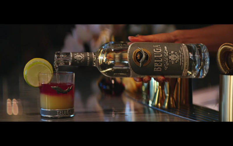 Beluga Gold Line Vodka Bottle and Branded Glass in Pa' Ti + Lonely Music Video by Jennifer Lopez & Maluma