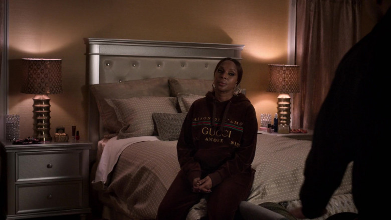 Gucci Women's Hoodie and Velvet Sweatpants Suit Outfit Idea of Mary J. Blige as Monet Stewart Tejada in Power Book 2 Ghost S01E03