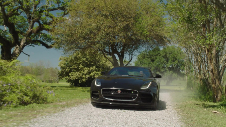 Jaguar F-Type Black Car in Filthy Rich S01E01 TV Show