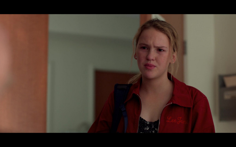 Lee Jeans Red Jacket of Talitha Bateman as Alexis 'Lex' Logan in Away S01E03