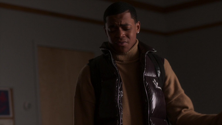Michael Rainey Jr. as Tariq St. Patrick Wears Moncler Vest Outfit in Power Book II Ghost S01E01 TV Show (2)
