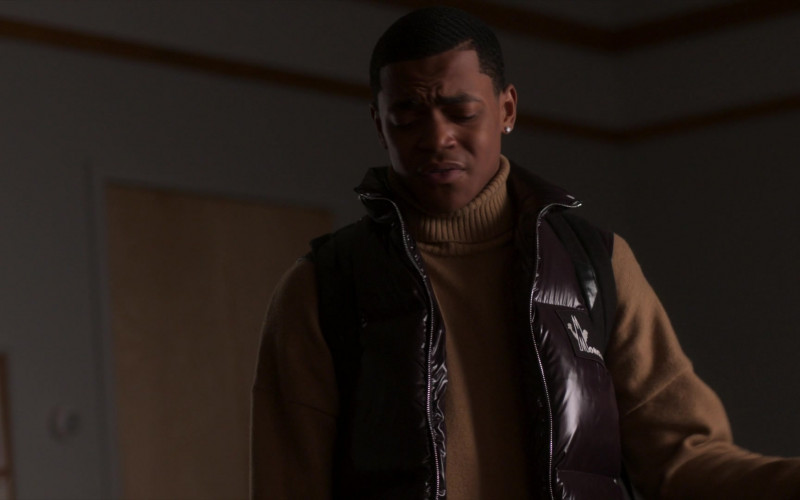 Michael Rainey Jr. as Tariq St. Patrick Wears Moncler Vest Outfit in Power Book II Ghost S01E01 TV Show (2)