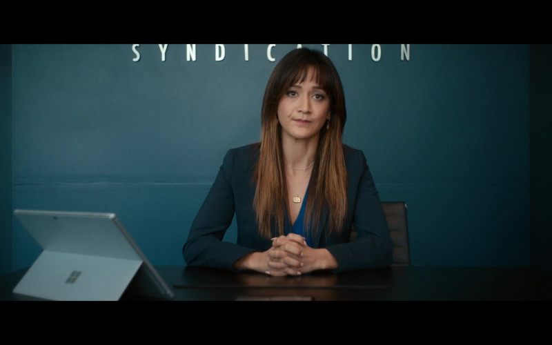 Microsoft Surface Tablet of Shannon Chan-Kent as Cindy in Woke S01E02