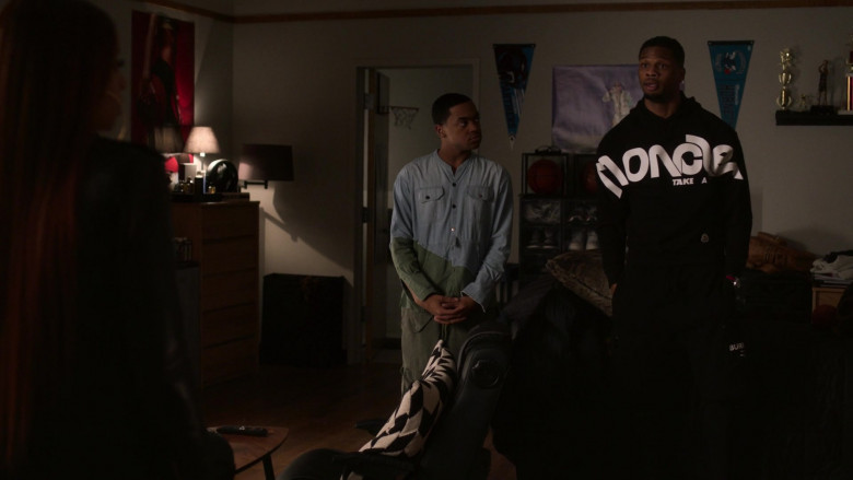 Moncler Men's Black Hoodie Outfit in Power Book 2 Ghost S01E03 TV Show (2)