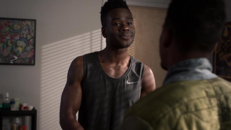 Nike Grey Tank T-Shirt of Bradley Gibson as Everett Neal in Power Book 2 Ghost S01E04 (2)