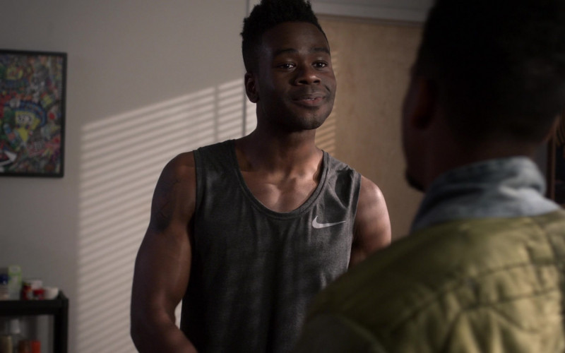 Nike Grey Tank T-Shirt of Bradley Gibson as Everett Neal in Power Book 2 Ghost S01E04 (2)