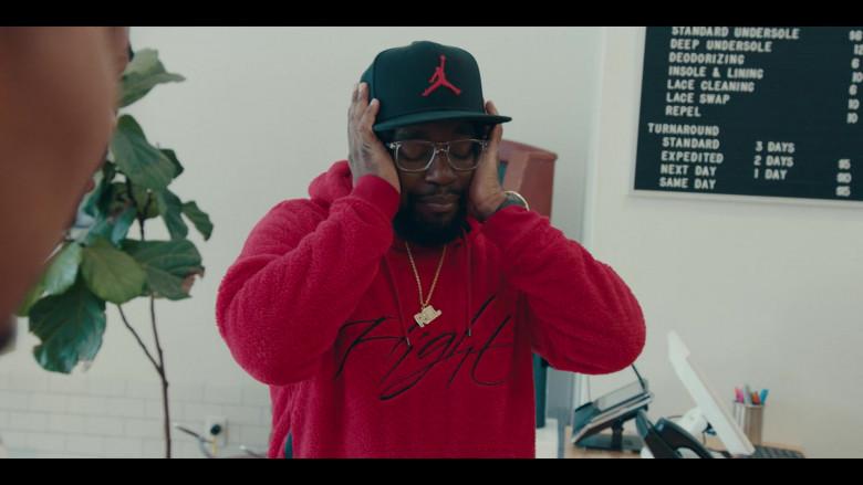 Nike Jordan Red Sportswear Wings of Flight Men's Sherpa Pullover Hoodie and Black Cap Street Fashion Outfit (1)