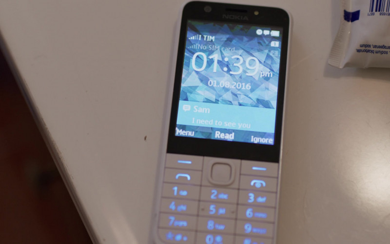 Nokia 230 White Mobile Phone of Jordan Kristine Seamón as Caitlin in We Are Who We Are TV Show (1)