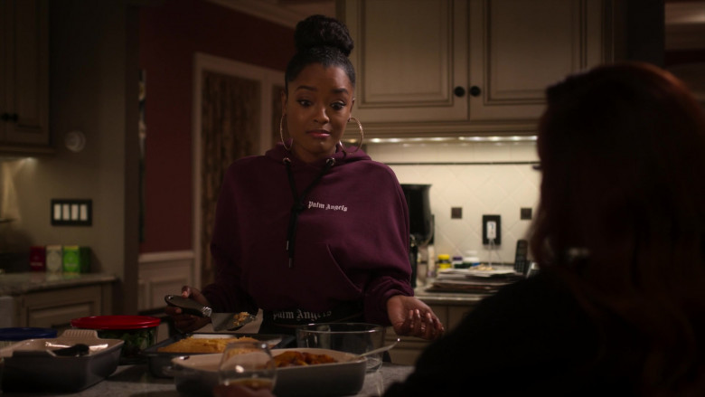 Palm Angels Women's Cropped Hoodie Outfit of LaToya Tonodeo as Diana Tejada in Power Book 2 Ghost S01E02