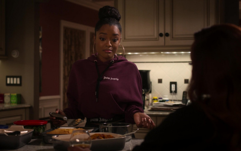 Palm Angels Women's Cropped Hoodie of LaToya Tonodeo as Diana Tejada in Power Book 2 Ghost S01E02