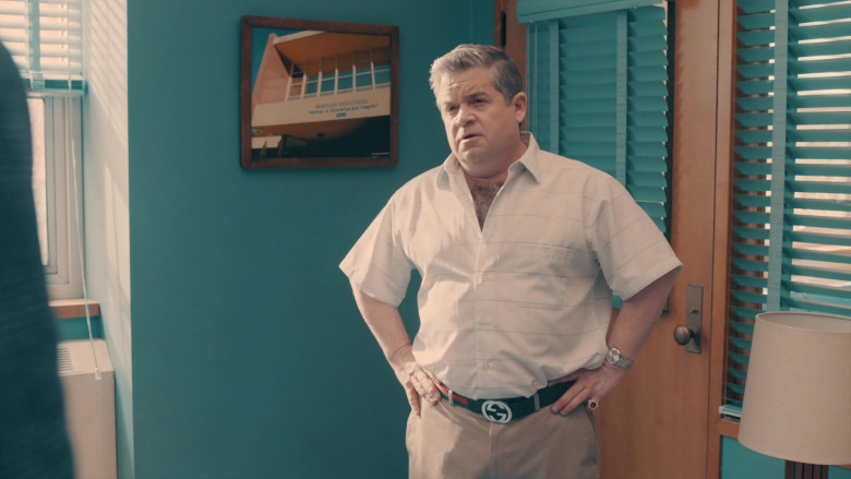 Patton Oswalt as Principal Ralph Durbin Wears Gucci Belt in A.P. Bio Season 3 TV Show (2)