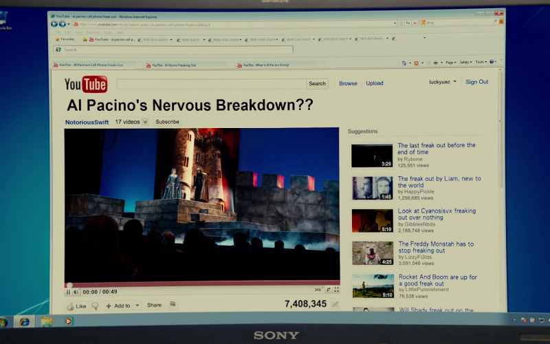 Sony Laptop and Youtube Website in Jack and Jill Movie (1)