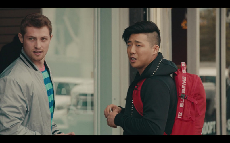 Supreme Backpack (Red) of Justin Lee as Cole in Sneakerheads S01E01 TV Show