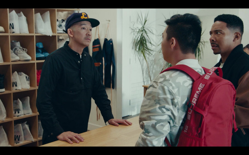 Supreme Red Backpack of Actor Justin Lee as Cole in Sneakerheads Season 1 Episode 6 TV Show (1)