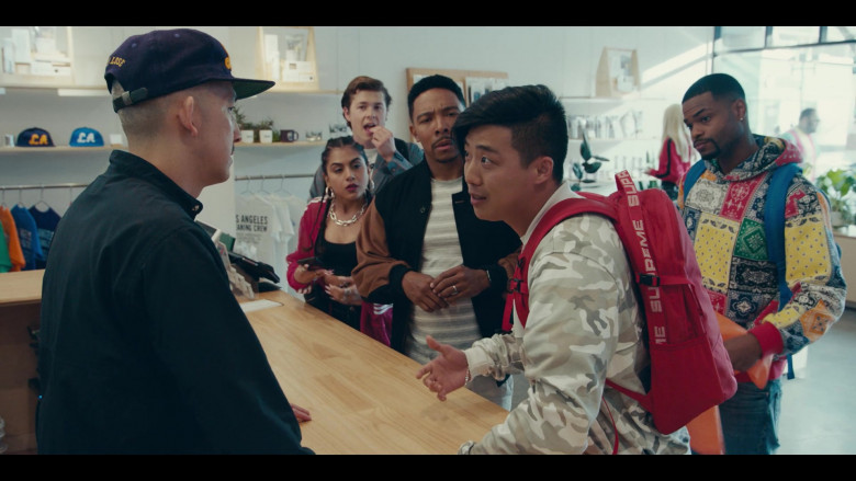 Supreme Red Backpack of Actor Justin Lee as Cole in Sneakerheads Season 1 Episode 6 TV Show (2)