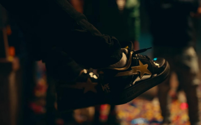 A Bathing Ape Bapesta Black Gold Sneakers of Tory Lanez in Most High (2020)