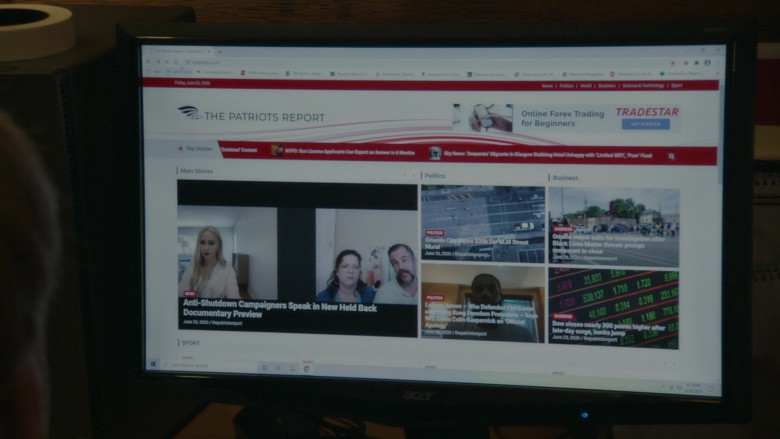 Acer Monitor and The Patriots Report Website in Borat Subsequent Moviefilm (2020)