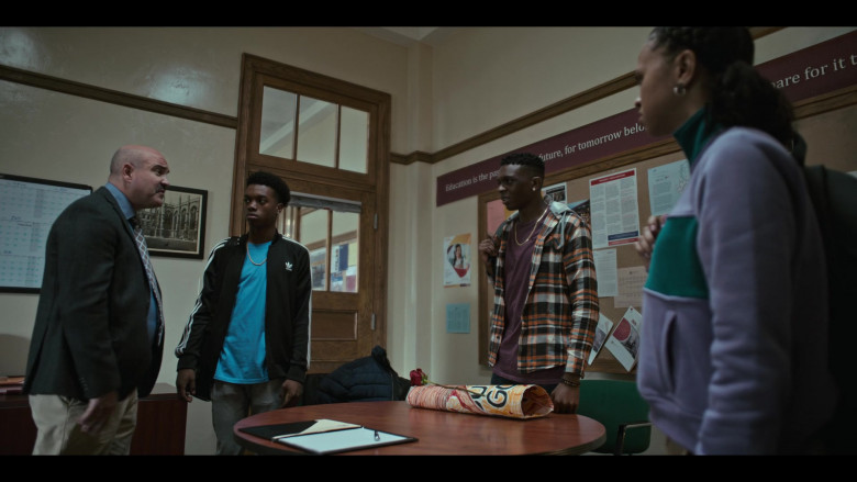 Adidas Black Tracksuit Jacket Outfit of Maliq Johnson as Jayson Jackson in Grand Army S01E09 (2)