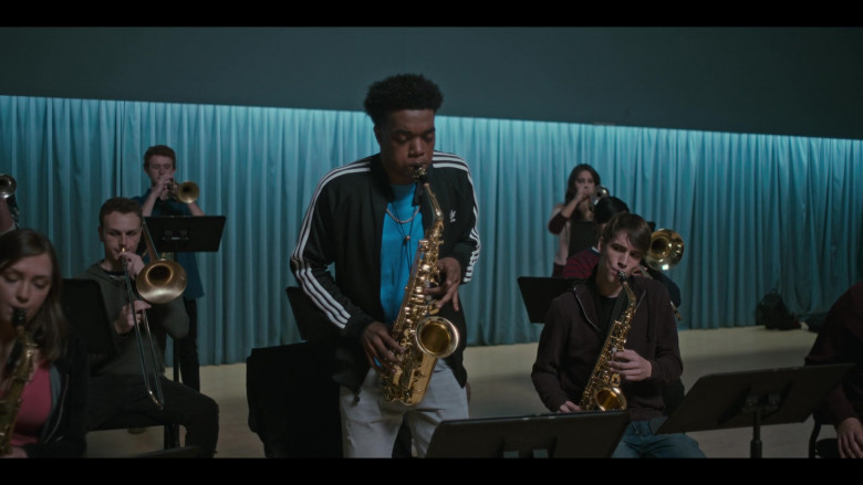Adidas Black Tracksuit Jacket Outfit of Maliq Johnson as Jayson Jackson in Grand Army S01E09 (4)