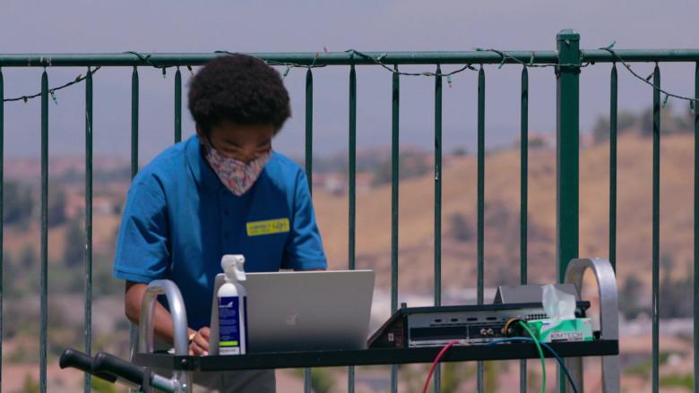 Apple MacBook Laptop of Asante Blackk as Corey in Social Distance S01E08