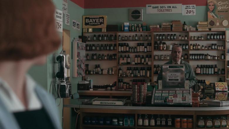 Bayer Aspirin Box, Gillette, Nivea, Altoids, Hershey's, CoverGirl Poster in The Queen's Gambit Episode 2 Exchanges (2020)