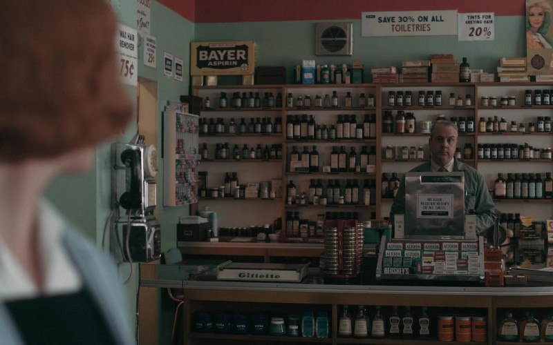 Bayer Aspirin Box, Gillette, Nivea, Altoids, Hershey's, CoverGirl Poster in The Queen's Gambit Episode 2 Exchanges (2020)