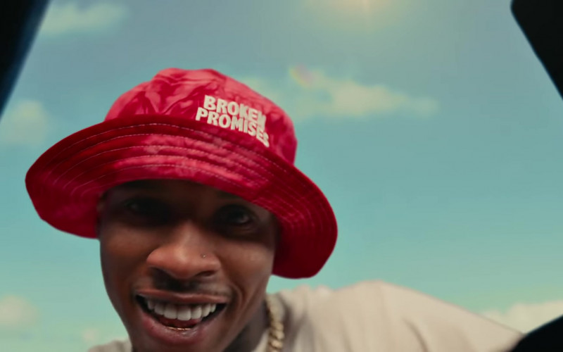 Broken Promises Dye Red Wave Logo Bucket Hat of Tory Lanez in Most High