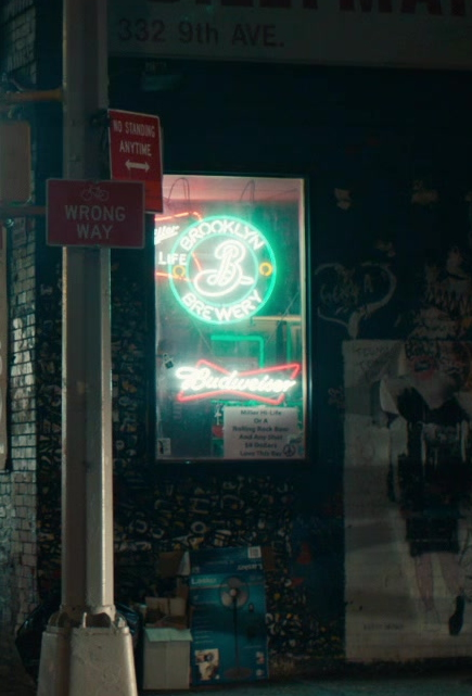 Brooklyn Brewery and Budweiser Neon Signs in The Broken Hearts Gallery (2020)