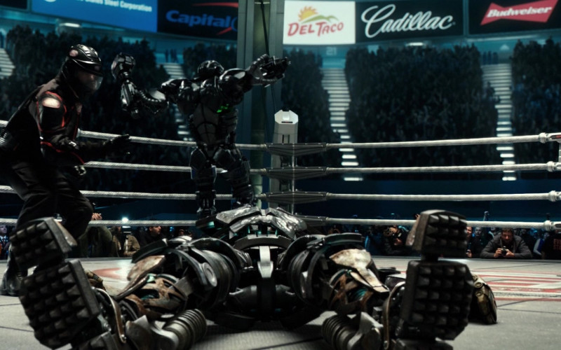 Capital One, Del Taco, Cadillac, Budweiser Brand Logos in Real Steel (2011)