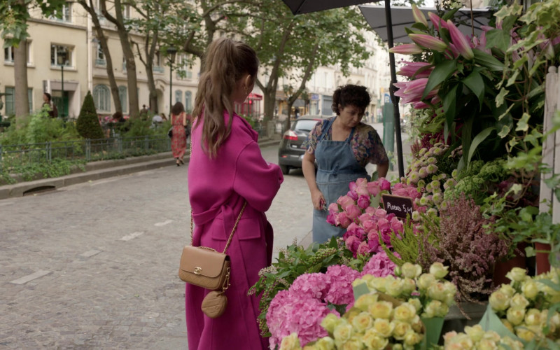 Chanel Brown Bag Street Style Outfit of Lily Collins in Emily in Paris S01E04