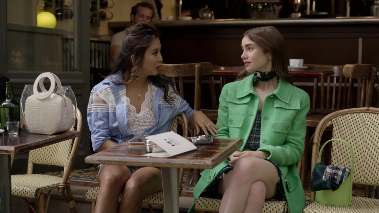 Chanel Green Coat of Lily Collins Street Style Outfit in Emily in Paris S01E05 (1)