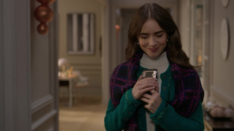 Chanel Green Jacket Fashion Outfit Worn by Lily Collins as Emily Cooper in Emily in Paris S01E06 (2)