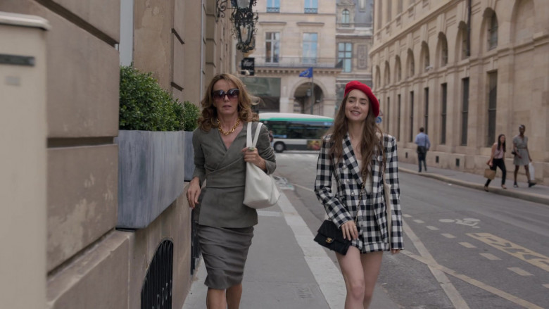 Chanel Handbag (Black) Street Style Outfit of Lily Collins in Emily in Paris S01E03 (1)