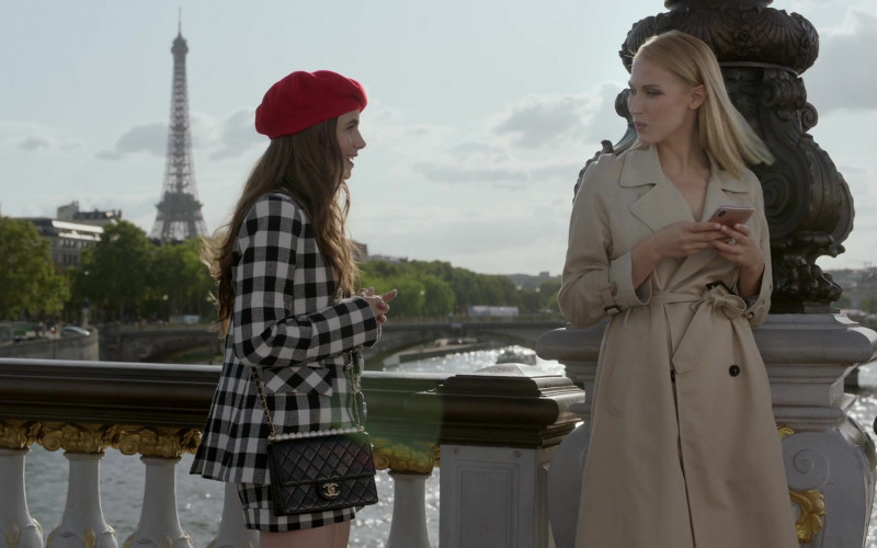 Chanel Handbag (Black) Street Style Outfit of Lily Collins in Emily in Paris S01E03 (2)