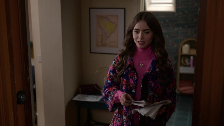 Chanel Pink Turtleneck French Street Style Outfit of Lily Collins in Emily in Paris S01E09 (1)