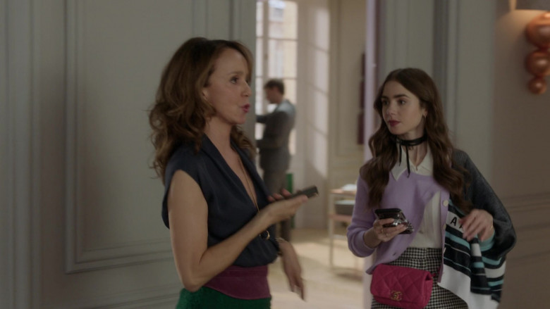 Chanel Pink Waist Bag of Lily Collins Fashion Outfit in Emily in Paris S01E05