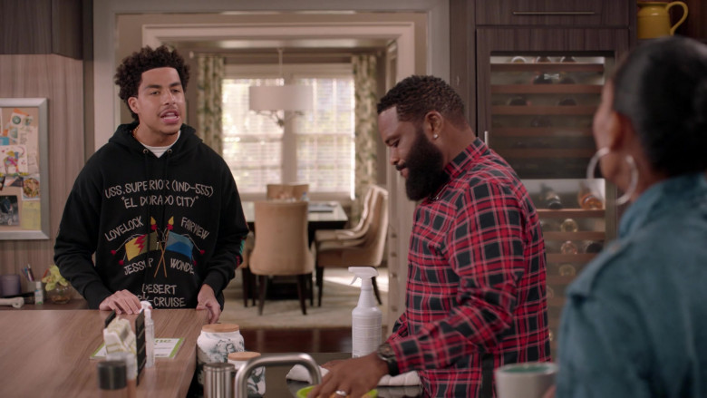 Diesel Hoodie Outfit of Marcus Scribner in Black-ish S07E01 TV Show (1)